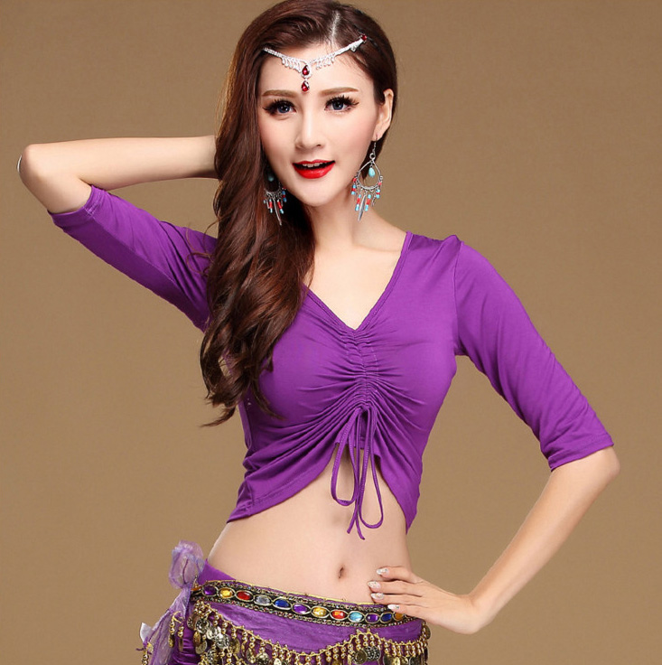 Modal V Neck Belly Oriental Eastern Dance Crop Tops Shirt Costumes For Women Bellydance Dancing Clothes Dancer Wear Drawstring