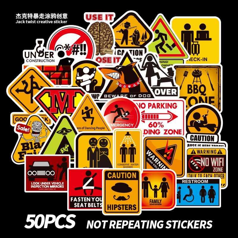 Zakaz znaki przypomnienie naklejki laptopa deskorolka bagażu wodoodporna Graffiti bardziej chory, aby DIY samochody meble naklejka zabawki z PVC 50 sztuk