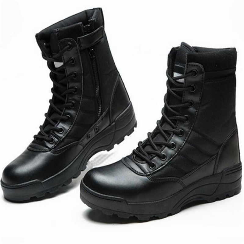 QIUBOSS/зимние кожаные ботинки в военном стиле для мужчин; армейские ботинки askeri bot; erkek ayakkabi Q718