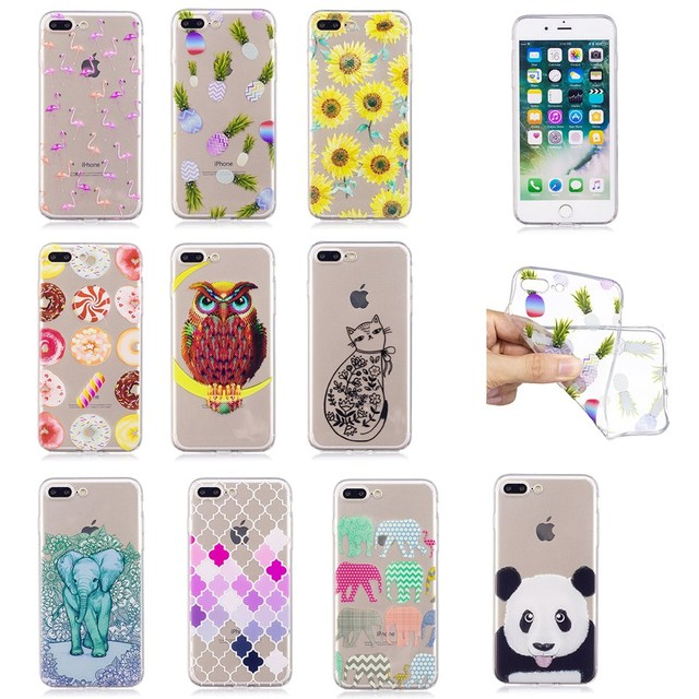 c06abedffc9 New Clear Slim Soft TPU Phone Cases For iPhone 6 6s Case Cute 3D Flower Bag  For iPhone 7 plus 8 plus X Cover Silicone elephant