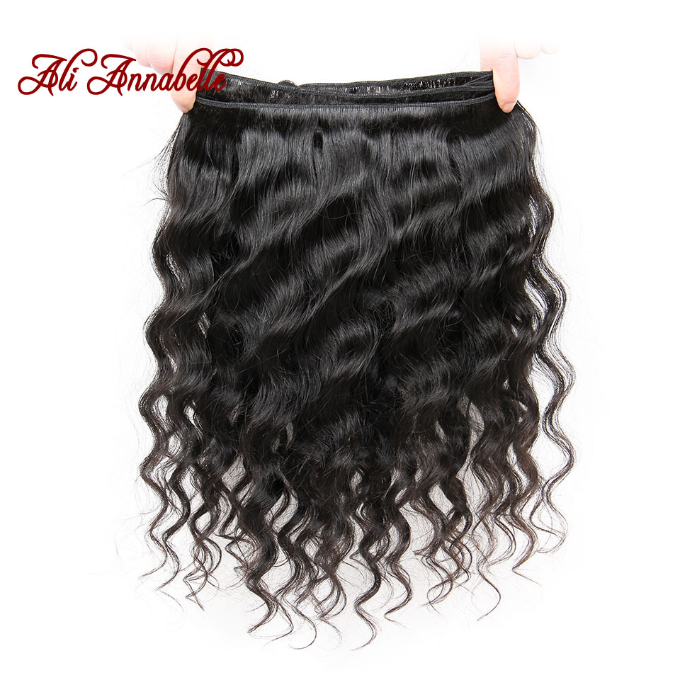 Image 3 - ALI ANNABELLE HAIR Brazilian Loose Wave Lace Closure Free Middle Part 4PCS Human Hair Bundles With Closure Remy Hair Extension-in 3/4 Bundles with Closure from Hair Extensions & Wigs