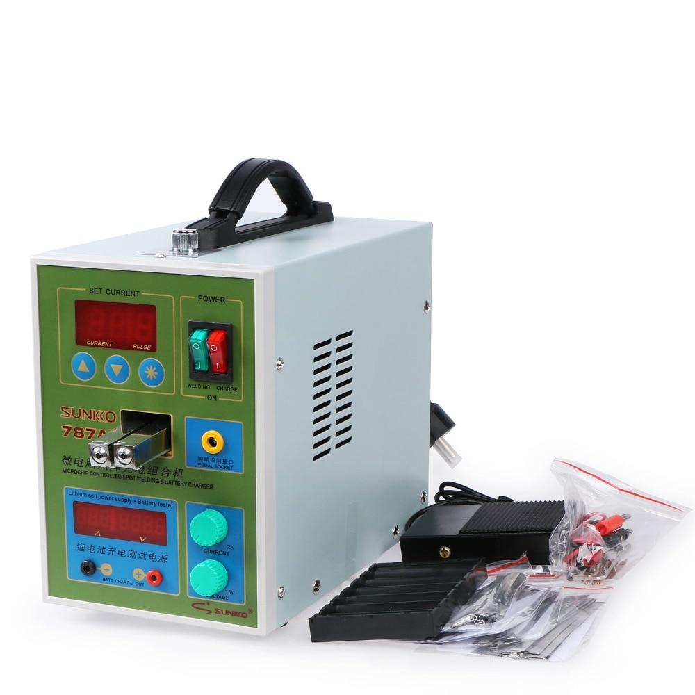 Sunkko 787A + 220 v Batteria Spot Saldatore Saldatura Ad Impulsi Macchina per il 18650 agli ioni di Litio Batterie e Accumulatori 0.05-0.2mm