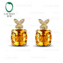 ФОТО caimao 18kt/750 yellow gold 18.3 ct natural citrine & 0.18 ct full cut diamond engagement gemstone earrings jewelry