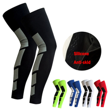 1PCS Pro Sports Silicone Antiskid Long Knee Legwarmers Support Compression Brace Pad Protector Sport Basketball Leg Sleeve