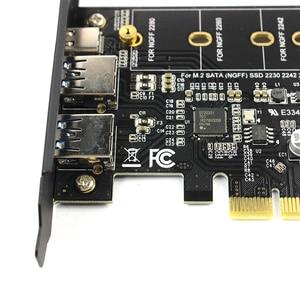 Image 4 - 듀얼 USB3.0 1 포트 유형 c M.2 PCIe 어댑터 M2 SSD SATA B 키 PCI e 3.0 컨트롤러 변환기 카드 NGFF 2280 2260 2242 2230