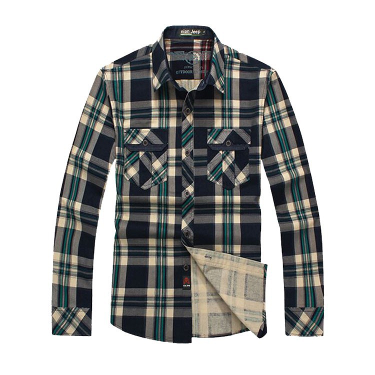 2015 Men Brand NIAN JEEP Plaid Dress Shirts Plus Size Long Sleeve Cotton Casual Loose Camisas Hombre Blouse Business Clothes 3XL (2)
