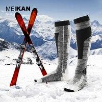 Meikan Для мужчин лыжный Носки для девочек шерсть Толстая Открытый Спортивные носки теплые сжатия Походные носки колено высокие влагу Носки к...