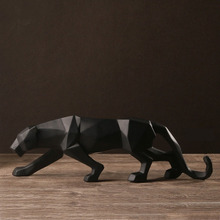 Abstract Resin Panther Statues Sculpture Geometric Resin Leopard Statue Home Decor Creative Gift Craft Ornament Accessories
