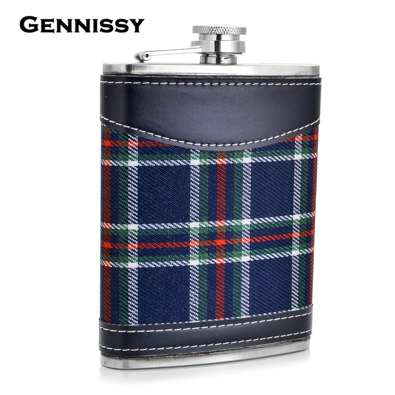GENNISSY Stainless Steel Hip Flask Gift Plaid Print Patchwork Portable 8oz Mini Pocket Whiskey Flask Leather