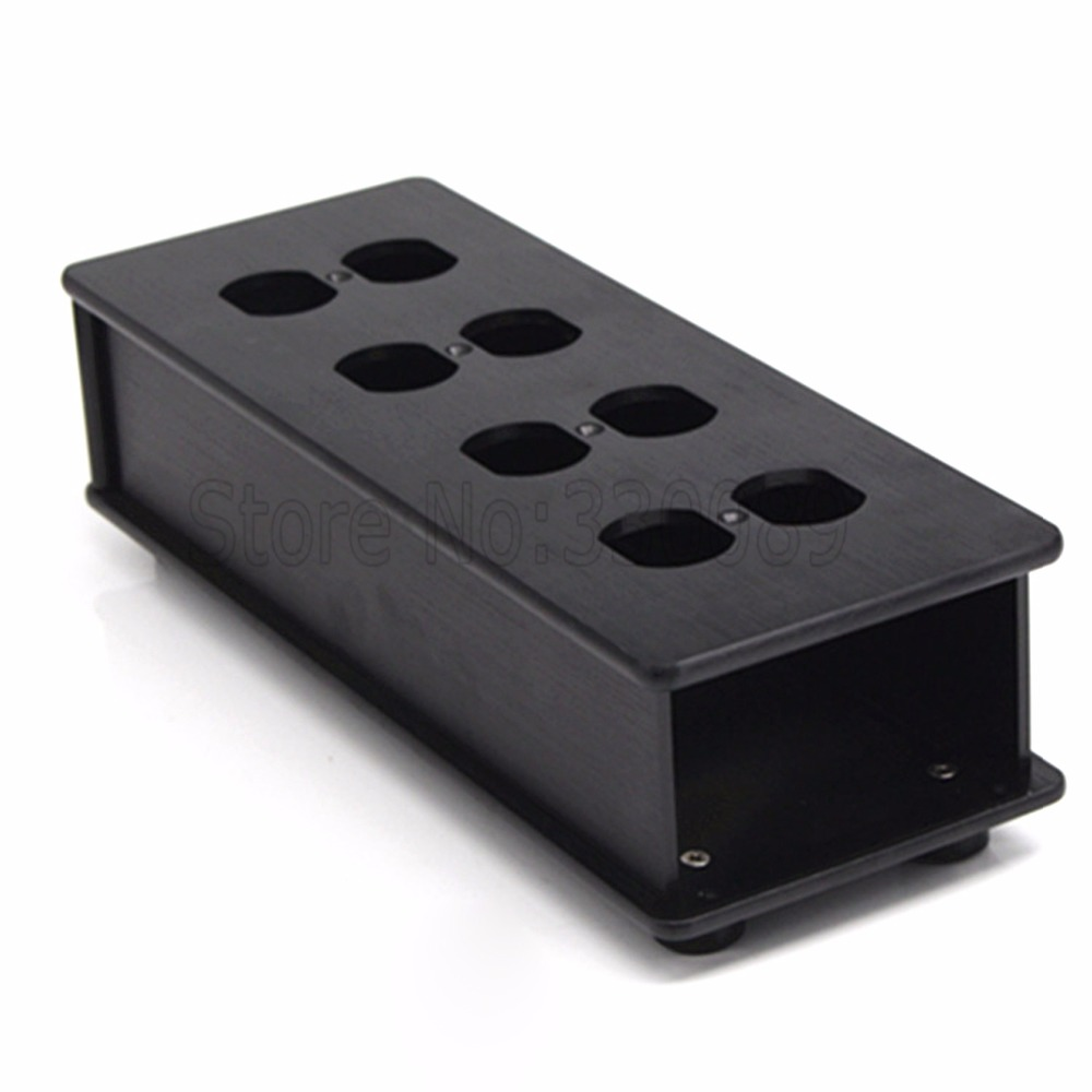 Free shipping one pieces Black aluminum US AC Power Distributor 8 outlet Power supply box Chassis case free shipping one pieces black aluminum us ac power distributor 8 outlet power supply box chassis case
