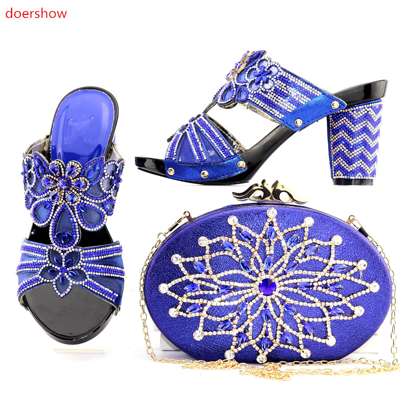 doershow Italian royal blue Shoes and Bags To Match Shoes with Bag Set Decorated with Rhinestone Women Shoes and Bag Set  NJ1-7 doershow high quality italian shoe and bag to match women shoes african party shoes and bag set green with rhinestone kh1 3