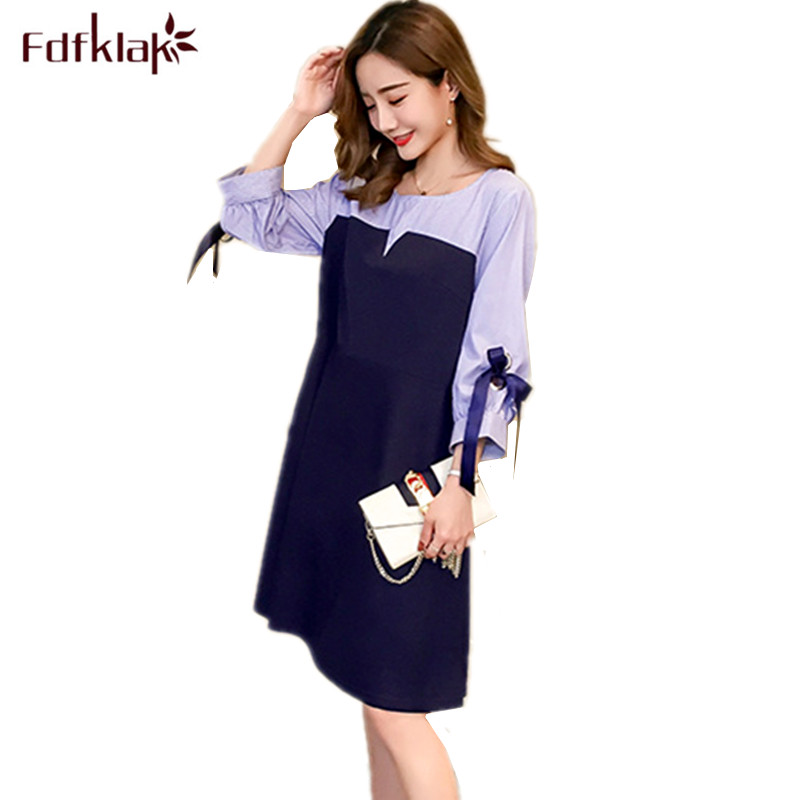 Fdfklak New 2018 Patchwork Summer Dress Big Size Maternity Clothes Slim Pregnancy Dress Casual Dresses for Pregnant Women new dress for pregnant women summer loose large size slim maternity dresses summer fashion half lace stitching pregnancy clothes