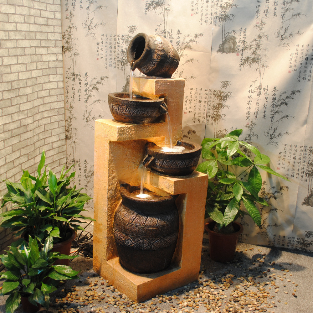 Water Fountain Indoor: 2014 European Resin Rockery Creative Feng Shui Water