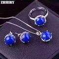 Mujeres azul Lapislázuli Gem Natural Anillo Aretes Collar Colgante de Piedra de la Joyería plata de ley 925