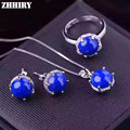Women Natural blue Lapis Lazuli Gem Stone Jewelry Set 925 sterling silver Necklace Pendant Earrings Ring