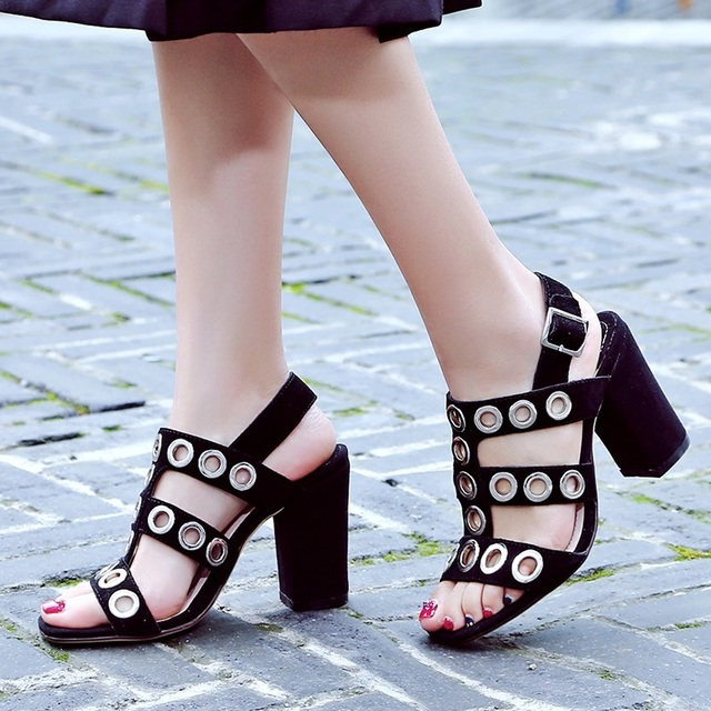 2017 sexy cut out women gladiator sandals high heels summer shoes sexy open toe buckle rivets casual shoes ladies elegant pumps