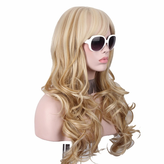 Long Blonde Wig Hair Anxin Wigs for Women Long Curly Hairs Synthetic Wigs Manufactuers Sold Directly Cheap Top Quality 1