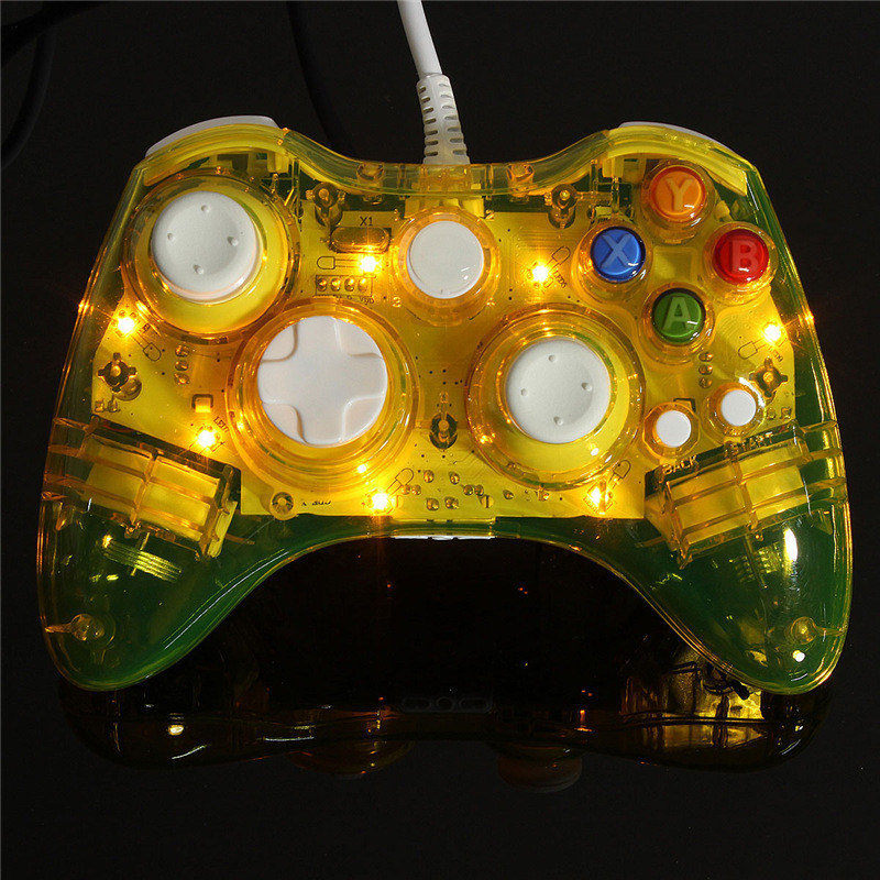 DIY Colorful LED Light Wired USB Gamepad Controller Joystick For Microsoft for Xbox 360 Games Consoles
