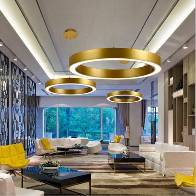 LuKLoy Gold Modern Pendant Lamp Light Acrylic Large Ring Circle Ceiling Lamp for Foyer Living Room Bedroom Lighting Fixture цена 2017