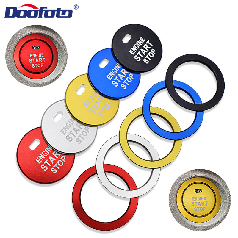 Doofoto Car Interior Decoration Styling Start Engine Button Covers Auto Rings Case For Toyota C HR C-HR Prius Corolla Camry Rav4