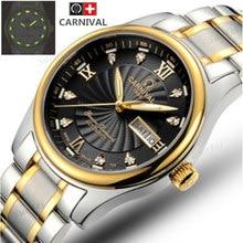Luz tritio relojes mecánicos automáticos del ejército se divierte para hombre impermeable reloj rhinestone moda casual luxury brand reloj de acero completo