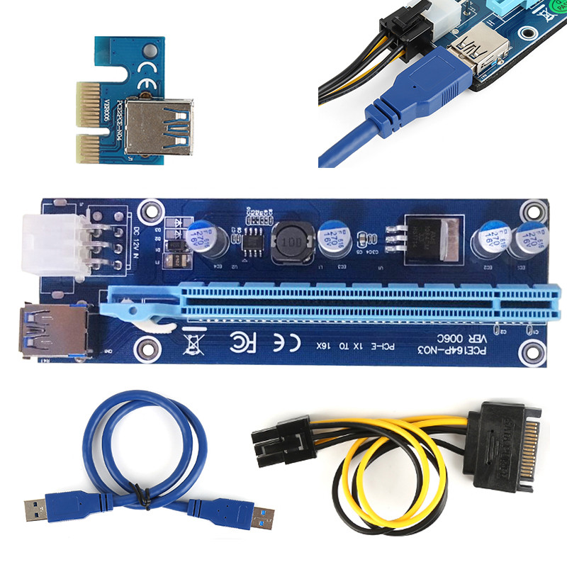 60cm Super stable PCI-E PCI E Express 1x to 16x graphics Card Riser Extender Adapter VER006 For Bitcoin BTC Miner Machine vg 86m06 006 gpu for acer aspire 6530g notebook pc graphics card ati hd3650 video card