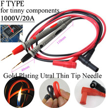 Ultra Fine Universal Probe Test Leads Cable Multimeter tester 1000V 20A and 10A thin tip needle digital Multi meter Gold Plating