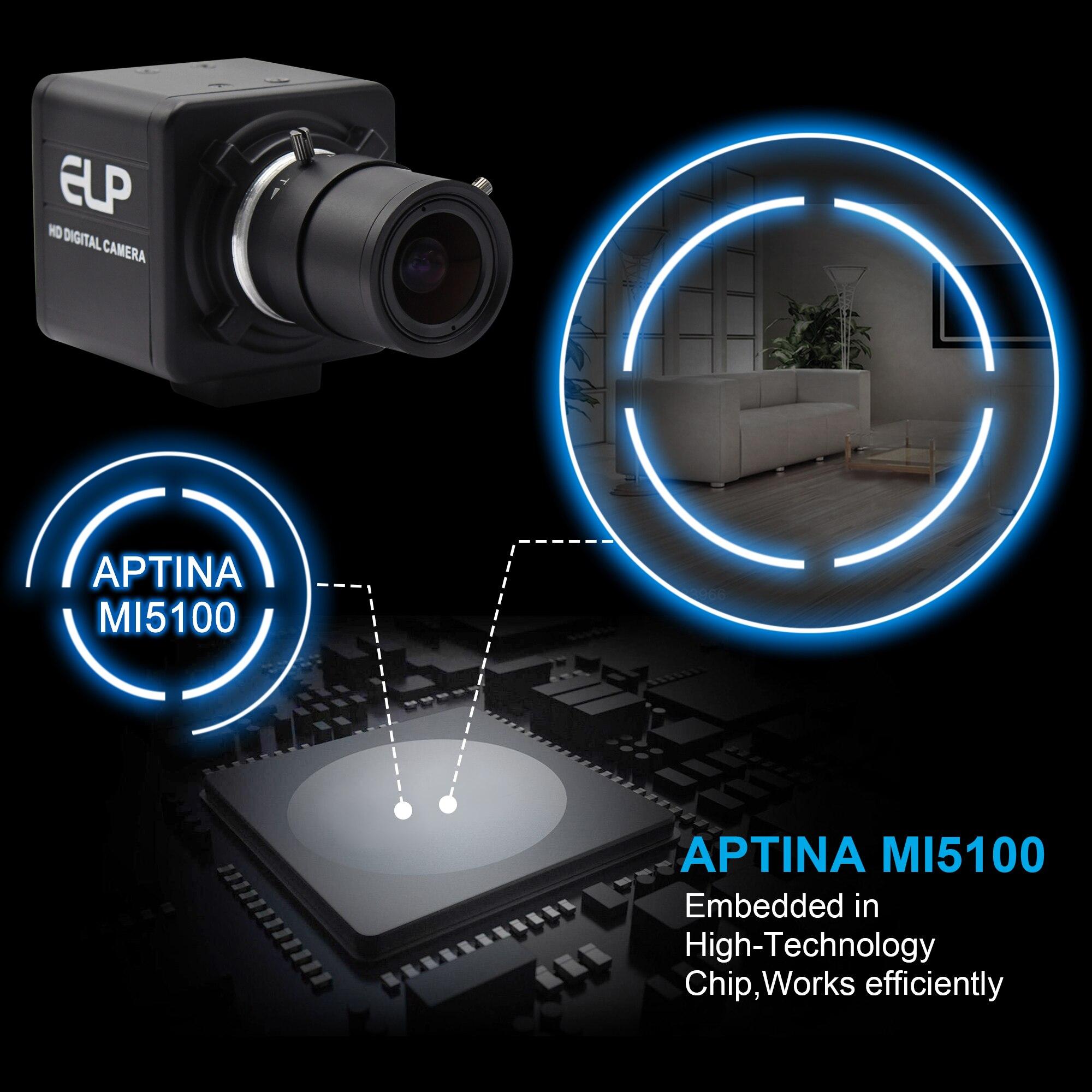 5 メガピクセル 2592 × 1944 USB カメラ 2.8 〜 12 ミリメートルバリフォーカルレンズアプティナ MI5100 CMOS Windows の Usb ビデオカメラ 3 メートルの usb ケーブルで  グループ上の パソコン & オフィス からの ウェブカメラ の中 3