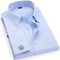 של הגברים צרפתי חפתים חולצות שמלת עסקי אריג ארוך שרוולי לבן הכחול S גודל אסיה, M, L, XL, XXL, 3XL, 4XL, 5XL, 6XL
