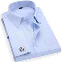 Men 's French Cufflinks Business Dress Shirts Long Sleeves White Blue Twill Asian Size S, M, L, XL, XXL, 3XL, 4XL, 5XL, 6XL