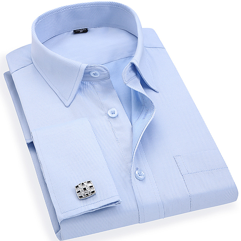 Mäns franska Manschettknappar Business Dress Shirts Lång Ärmar White Blue Twill Asian Size S, M, L, XL, XXL, 3XL, 4XL, 5XL, 6XL