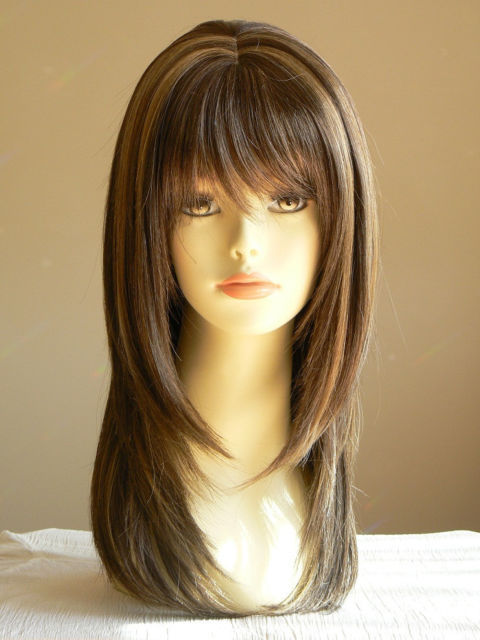 style for long hair medium brown layered wigs salon 2319 | Lady Sandy Straight Medium Brown Layered Wigs Salon Hairstyle