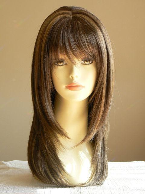 Lady Sandy Straight Medium Brown Layered Wigs Salon
