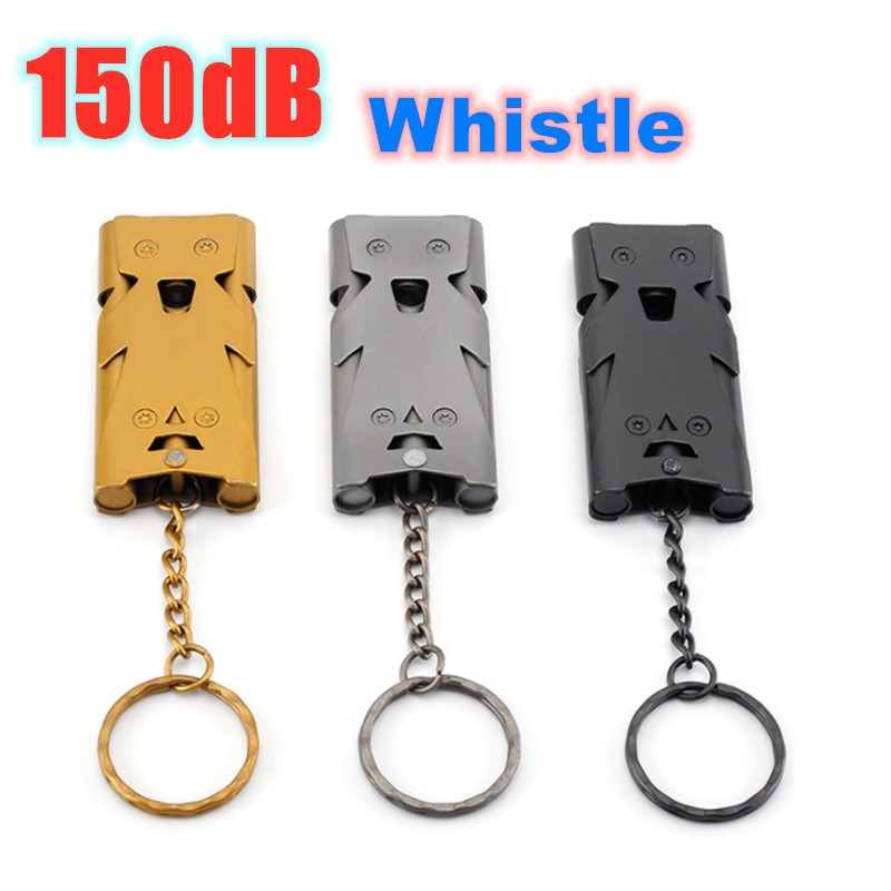 150dB Outdoor Metal Stainless Steel Three Tube Whistle Women Self-defense Alarm Camping Traveling Survival Gear Defensa Personal