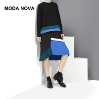 MODA NOVA Designer Runway Dress Women Causal Patchwork Pleated Long Sleeve Midi Dress 2018 Autumn Winter Clothes Vestido Befree