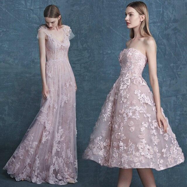 Strapless Beautiful Vestido de Formatura Graduation Dress Flower Lace Beads  Vestido de Festa Curto Custom High e8cd86f3c
