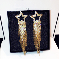 TYME 2017 Sexy Luxury Star Drop Earrings For Gold Silver Color Tassel Wedding Long Earrings Party