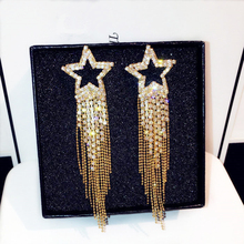 TYME 2017 Sexy luxury star drop earrings for gold silver color tassel wedding long earrings party jewelry pendientes brincos gold color with star hotpink butterfly star drop earrings