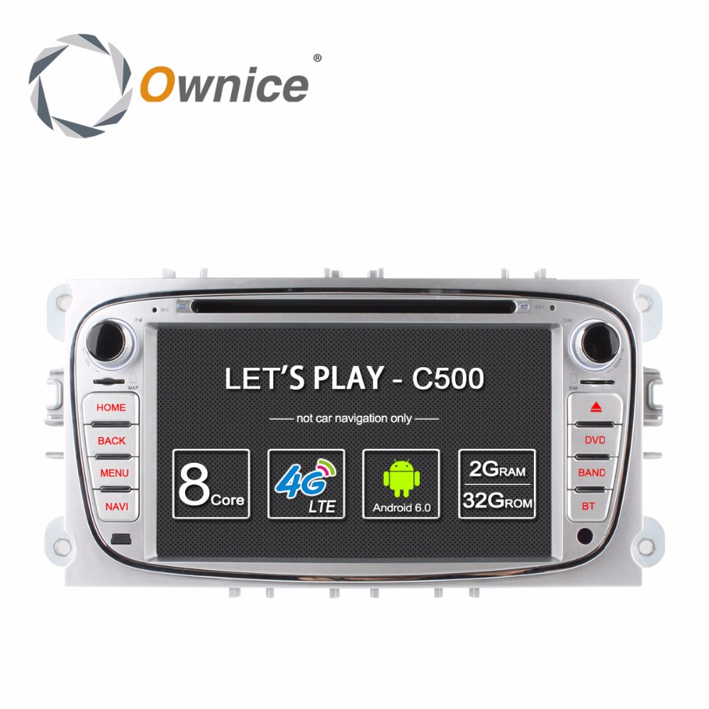 Ownice C500 2Din Android 6.0 4 Core Car DVD Player For FORD Mondeo S-MAX Connect FOCUS 2 2008-2011 With Radio GPS 4G LTE Network цена 2017