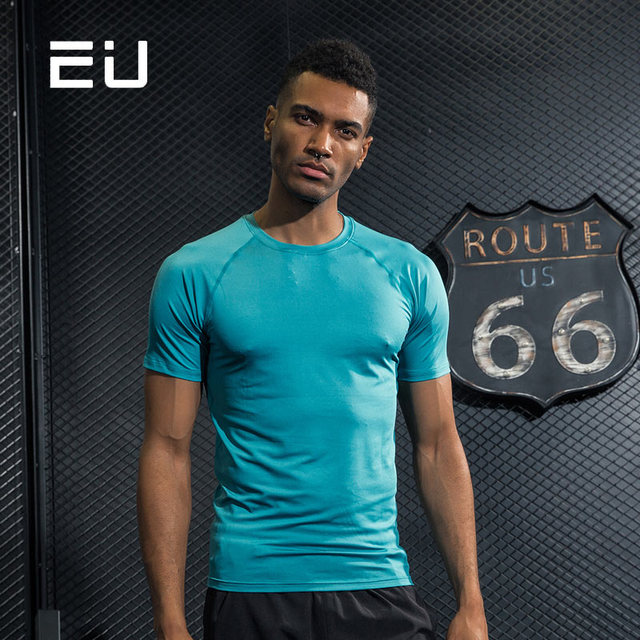 466f9aa2 Mens Sport Shirts Quick Dry Fit Men Running Shirts Men Fitness Gym  Bodybuilding Compression Shirts Short