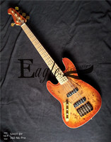 Eagle. Butterfly electric guitar, bass custom shop,22 grade left handed 5 String Jazz Bass tree tumour veneer gold hardware.