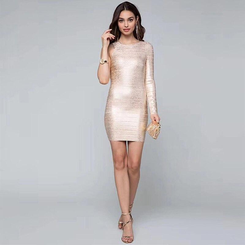 Manches Une Automne Nouvelle Bandage À Midi De Qualité Or Bonne Moulante Soirée Robes 2018 Longues Robe Femmes Épaule Mode c4RL3j5Aq