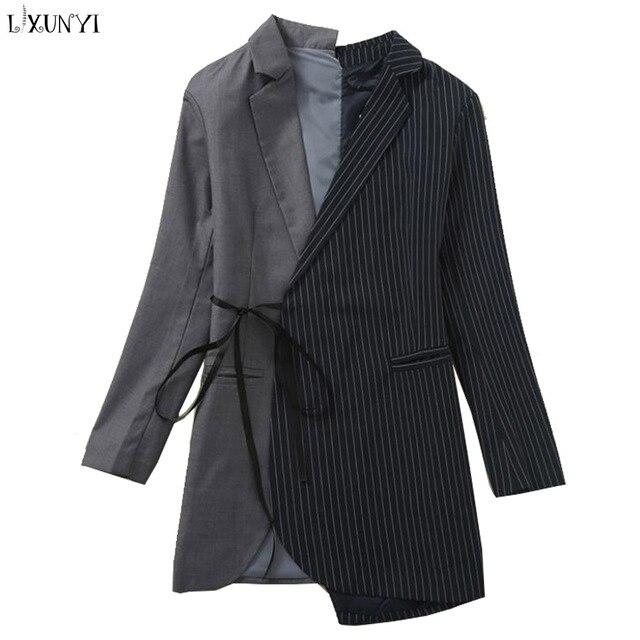 LXUNYI Ladies Blazers Jacket 2019 Spring Coat Women Asymmetric Striped Patchwork Long Blazer Runway Casual Women's Suit Coat