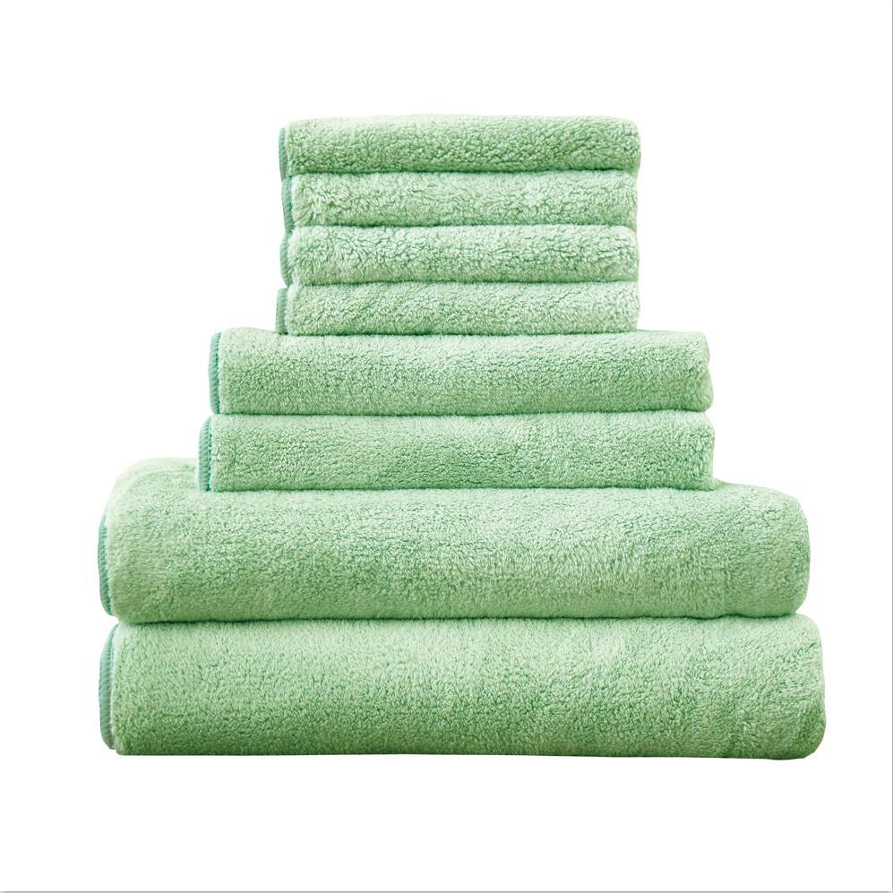Broderie lavande séchage rapide antibactérien coton tissu serviette ensemble, adultes enfants serviette carrée + serviette de visage + serviette de bain 8 pièces