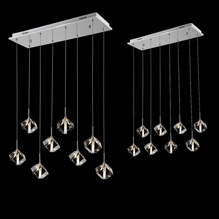 Crystal Cube Hanging Bar Counter Pendant Light Dining Room