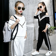 Moda büyük kızlar spor takımları kapalı omuz siyah ve beyaz giyim seti genç sonbahar eşofman çocuklar artı boyutu spor