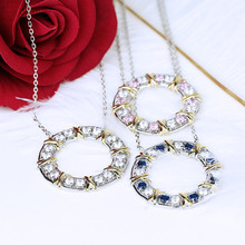 New Design Personality Fashion S925 Sterling Silver Inlay Zircon Round Circle Personality Necklaces For Women Jewelry Accessorie