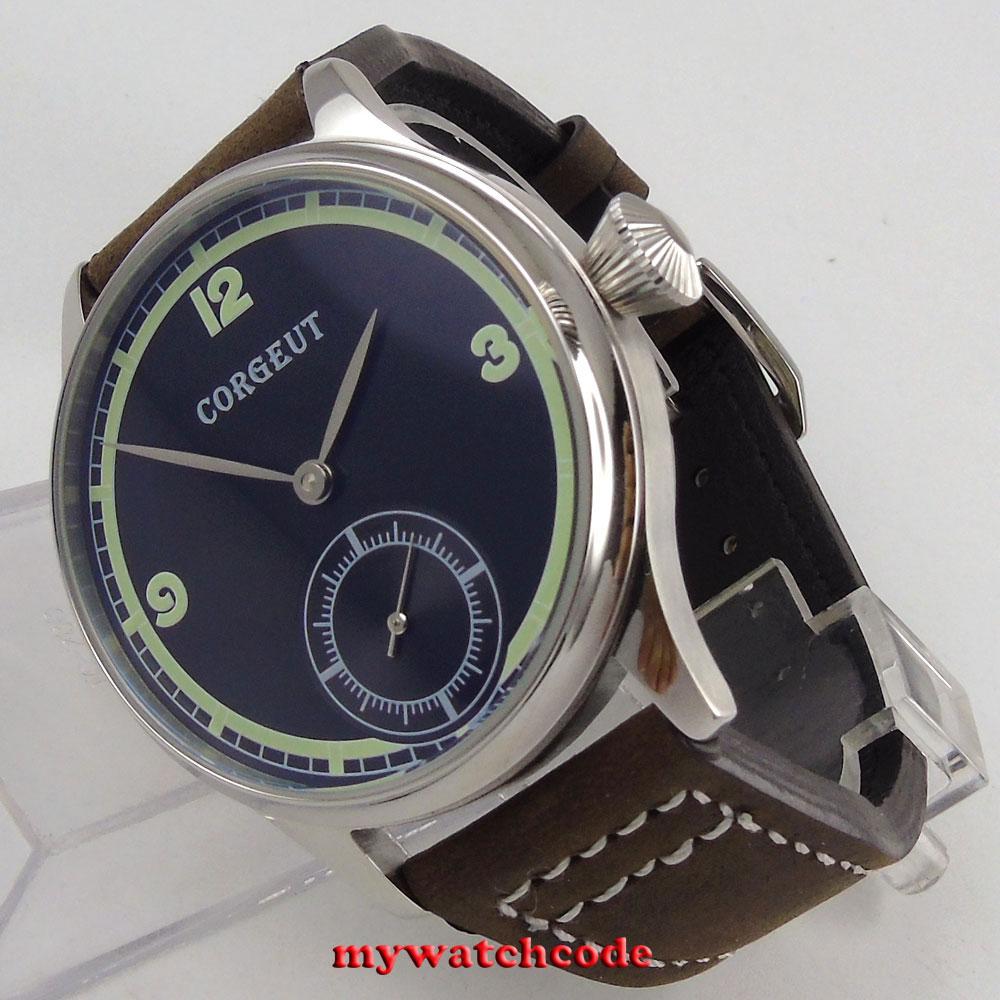 44mm Corgeut black dial green luminous 6498 hand winding movement mens watch C11 44mm black sterile dial green marks relojes 6497 mens mechanical hand winding watch luminous armbanduhr cm164bk