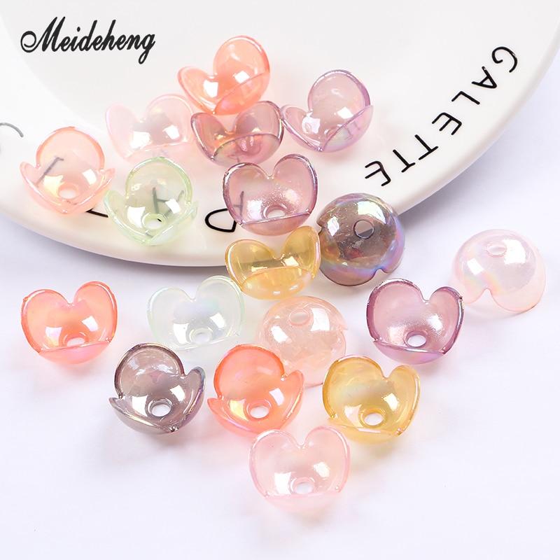 b7f41b18b9494 Acrylic Jelly Color Plating Beads Transparent Flower Three Petals ...