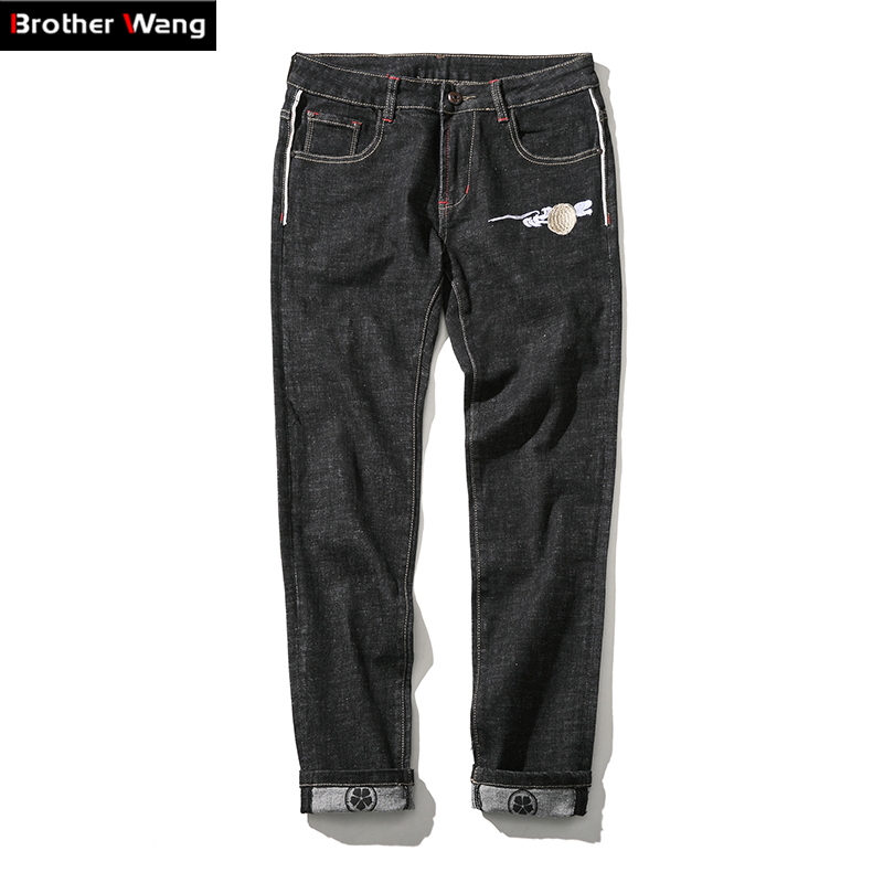 ФОТО Brothers wang high-end men's jeans Chinese style embroidery stretch jeans big size 42 44 46 men casual jeans brand men clothing